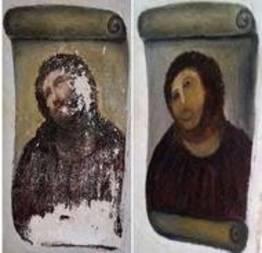 A restauração do quadro de Jesus que deu errada