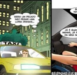 A passageira safada dando a xota no táxi