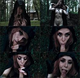 Bruxa Do Bosque No Devorando a Rola Da Vítima Perdida No Halloween