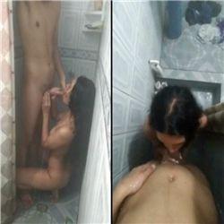Colocando a priminha pra mamar no chuveiro