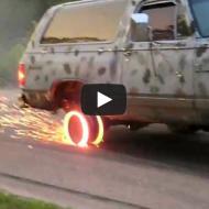 Fritando pneu até chegar na roda