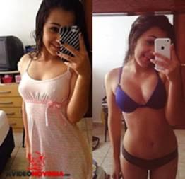 Fotos amadoras da novinha peladinha em frente do espelho mostrando a bucetinha