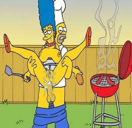 Fodendo o cuzinho da Marge no churrasco