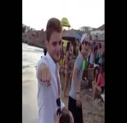 Boquete na praia com platéia