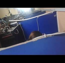 Flagra de sexo o escritório foi filmado