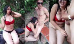 Filmando a namorada pagando um boquete para o amigo no riacho