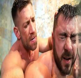 Two hot gay hunks fucking hard in the shower